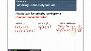How To Factor A Cubic Section 10 8 Factoring Cubic Polynomials Youtube