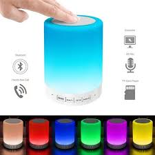 Bluetooth Speaker For Bedroom Home Outdoor Touch Sensor 7 Color Changing  Night Light Best Portable Wireless