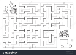 Christmas Holiday Maze Kids New Year Stock Vector 716057269 ...