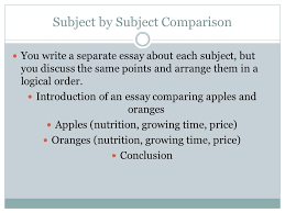 patterns chapter compare contrast subject by subject  subject by subject comparison you write a separate essay about each subject but you discuss