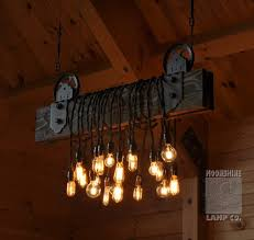 wood plank pulley farmhouse chandelier restaurant bar chandeliers
