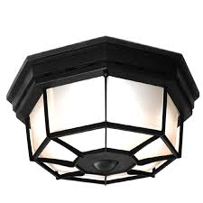 motion sensor outdoor ceiling light lovely secure home 11 9 in w black motion activated