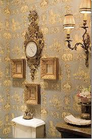 Marvellous French Country Interior With Chic Blue Wallpaper  Put French Country Style Wallpaper