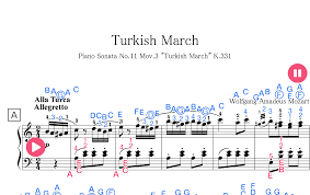 Bellow is only partial preview of mozart turkish march easy children sheet music, we give you 1 pages music notes preview that you can try instrument : Turkish March Sheet Music For Piano Original Letters Finger Numbers Starryway