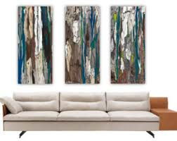 wall art triptych extra large canvas prints trees blue teal abstract artwork oversized set rolled bedroom living room home decor dining room on extra large wall art teal with large canvas print etsy