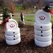 snowmen made from old tires these are the best diy decorations