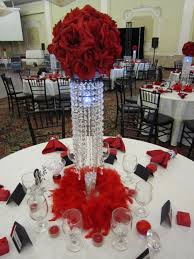 Party  with Red Rose Ball Crystal Centerpieces |
