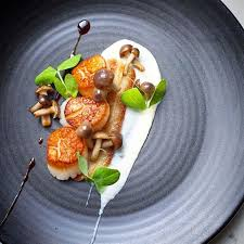 fine dining meals recipes. seared atlantic scallops, twice cooked pork belly (can be substituted with ready-made fine dining meals recipes