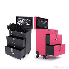 3 stands make up box 2color luge carrier pu storage box with makeup bag trolley case draw bar box for professional lady makeup use