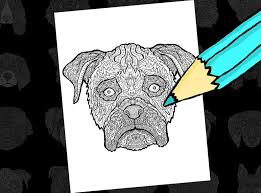 Boxer Dog Printable Coloring Sheet Detailed Dogs Etsy