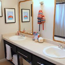 ... Cheerful Designs Ideas For Childrens Bathrooms : Entrancing Design  Ideas Using Rectangular Mirrors And Oval White ...