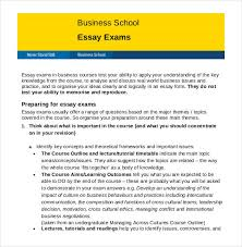 essay outline template sample example format  business school essay exam outline
