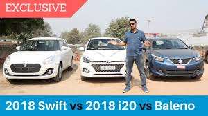 2018 Elite I20 Vs Maruti Baleno Vs 2018 Swift Comparison