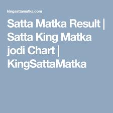 Satta Matka Result Satta King Matka Jodi Chart