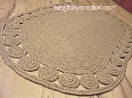 oval unique decorative jute rug 5x3 ft crochet rug braided rug natural fiber rug no 031