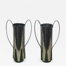 listings decorative arts objects vases jars urns art deco pair of silver plate and green glass