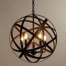 nickel orb chandelier brushed