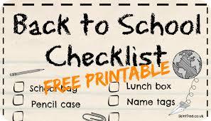 Checklist For School Back To School Essentials With Printable Checklist