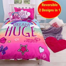 jojo siwa with the big bow single duvet quilt cover set girls kids pink bedroom 5055285414382