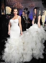 kim kardashian ivory mermaid wedding gown bridal dress