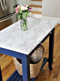 diy marble contact paper on island