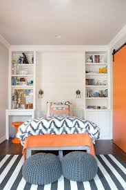 gray and orange bedroom. source: evensen design website orange and gray boy\u0027s bedroom features a shiplap accent wall lined