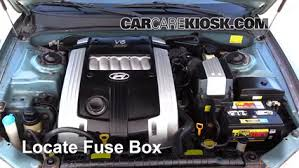 replace a fuse 2001 2005 hyundai xg350 2005 hyundai xg350 l 3 5l v6 locate engine fuse box and remove cover