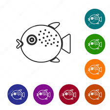 black line puffer fish icon isolated