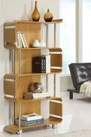 ... Splendid Decorating Ideas For Bookshelf Design Plans : Astounding Free  Standing Walnut And Chrome Zigzag Shelves ...