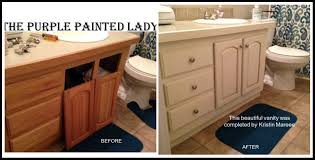 painting wood cabinets whiteBathroom Cabinets  The Purple Painted Lady Vanity Before After