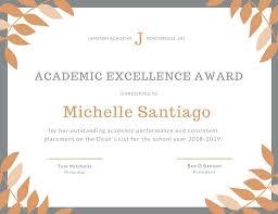 Principal Award Certificate Orange Grey Laurel Academic Excellence Certificate School