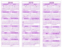 year calender 2018 2019 2020 3 year calendar