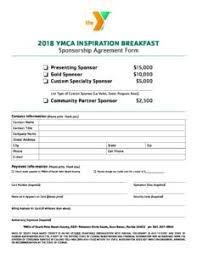 sponsorship agreement sponsorship agreement form ymca