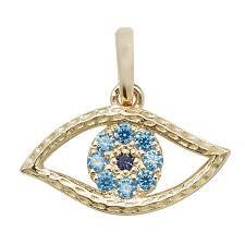 9ct gold evil eye pendant