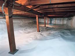 a sealed crawl space with open joists