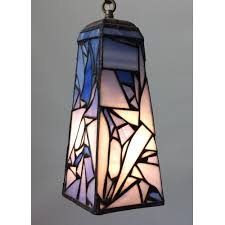 blue pendant lamp in stained glass with