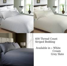 400 thread count classic stripe pure 100 egyptian cotton bedding white or cream
