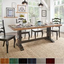 kitchen dining room tables eleanor two tone rectangular solid wood top dining table by inspire q clic