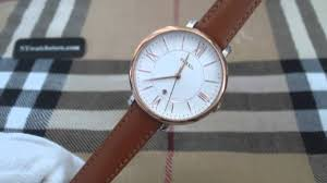 women s fossil jacqueline brown leather strap watch es3842