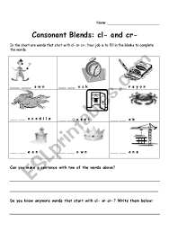 Worksheet Ideas 244880 1 Cl And Cr Consonant Blends Phonics