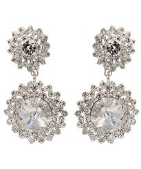 statement starburst chandelier crystal drop clip on earrings