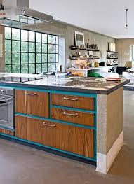 i really like the bo of painted cabinets with natural wood doors drawers