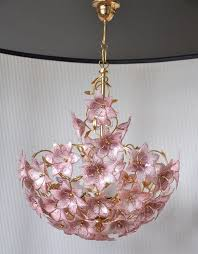 large vintage polished brass chandelier with italian murano glass pink flowers 30