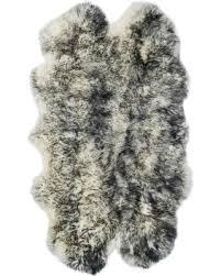 Safavieh Sheepskin Shag Shs121g Ivory  Dark Charcoal 2u0027 X 6u0027 Runner Area Rug