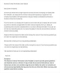 Business Contract Termination Letter Sample End Of Employment