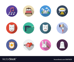 Film Genres Movie Genres Flat Round Color Icons Set