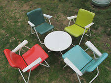 mid century modern patio furniture. Plain Century Vintage Russel Wright Sampson Mid Century Modern Metal Folding Patio Chairs  Set Inside Furniture E
