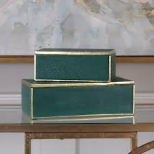 Decorative Display Boxes TWO NEW MODERN EMERALD GREEN ACCENTS DECORATIVE STORAGE DISPLAY 94