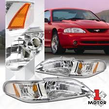 94 98 Mustang Corner Lights Ford 94 98 Mustang Gt Svt Headlights Black Corner Turn