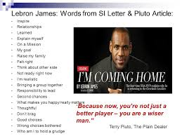 Lebron James Words from SI Letter & Pluto Article